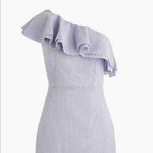 Jcrew one shoulder seersucker dress